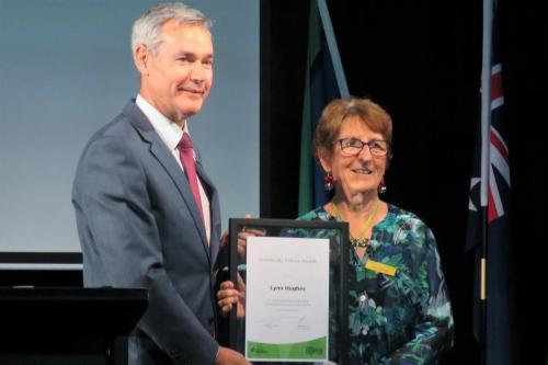 Lynn's presentation of Prospect Community Service Award December 2020