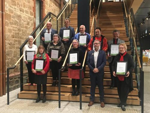 IMG Whole group of recipients in foyer of Payinthi -Prospect Council Buildings